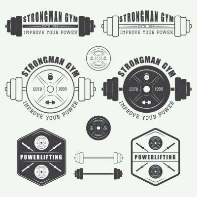 Poster Set von Fitness-Studio-Logo, Etiketten, Abzeichen und Elemente im Vintage-Stil