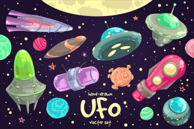 Poster Set von Hand gezeichnete UFO