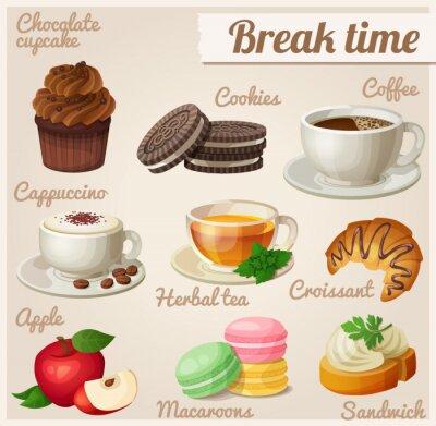 Poster Set von Lebensmittel-Icons. Pausenzeit.