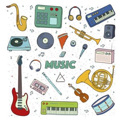 Poster Set von Musikinstrumenten. Bunte Illustration.