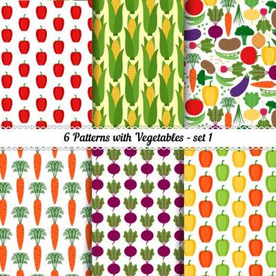 Poster Set von nahtlosen Mustern mit verschiedenen Gemüse