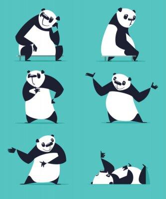 Poster Set von Panda in verschiedenen Posen. Sitzen, Träumen, Denken, Zeigen, Liegen, Einladen, Drehen. Jeder Panda ist in einer separaten Schicht.