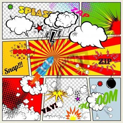 Poster Set von Retro Comic Vektor-Design-Elemente, Rede und dachte Blasen