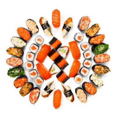 Poster Set von Sushi, Maki, gunkan und Brötchen auf weiß isoliert