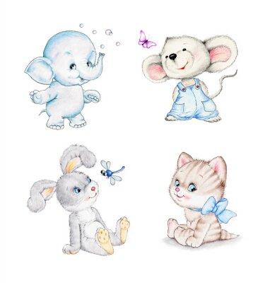 Poster Set von Tieren: Elefant, Maus, Kätzchen, Hase