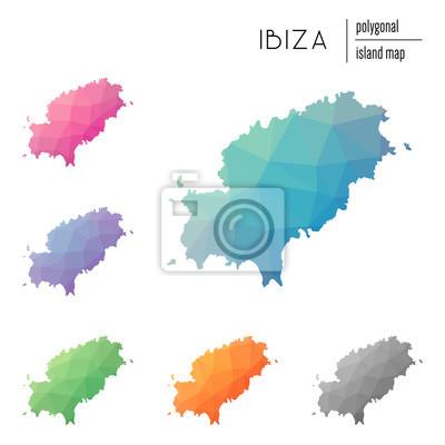 Ibiza Karte Umriss.Poster Set Von Vektor Polygonalen Ibiza Karten Mit Hellen Farbverlauf