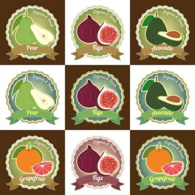 Poster Set von verschiedenen frischen Früchten Premium-Qualität Etikett Aufkleber Abzeichen Aufkleber
