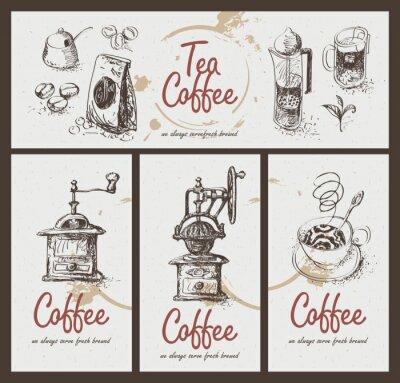 Poster Set Zeichengeräte für Tee zu trinken und Kaffee