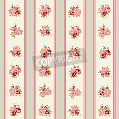 Poster Shabby Chic Rose Patterns und nahtlose Hintergründe