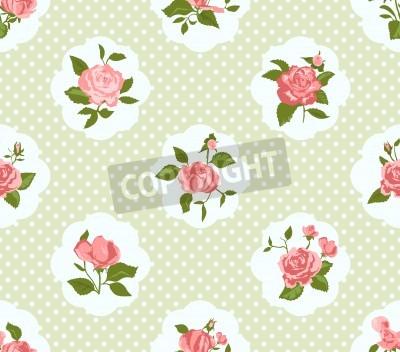 Poster Shabby Chic-Rosen-Muster und nahtlosen Hintergrund. Ideal für den Druck auf Stoff und Papier oder Schrott Buchung. Cottage Chic-Stil.