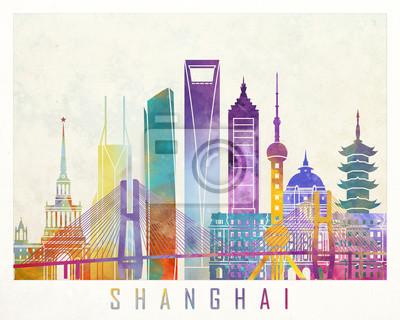 Shanghai Sehenswürdigkeiten Aquarell Poster