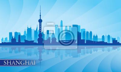Shanghai Skyline Silhouette Hintergrund