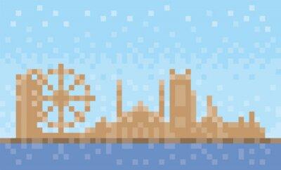 Sharjah city skyline, pixel art background