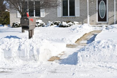 Poster Shoveled Snow and Mailbox