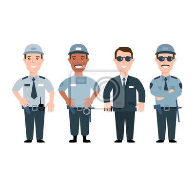 Poster Sicherheitsbeamter. Sicherheit Männer in Uniform isoliert auf weißem Hintergrund
