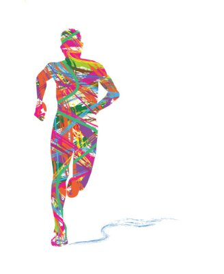 Poster silhouette astratta di uomo che corre