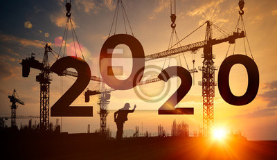 Poster Silhouette construction site,Cranes building construction 2020 year sign