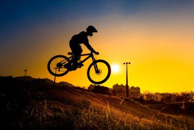 Poster Silhouette Der Stunt BMX Reiter - Farbton abgestimmt