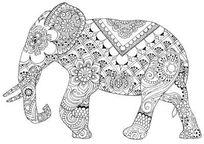 Silhouette Eines Elefanten Gemalt Ornamenten Im Stil Von Mihendi