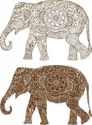 Poster Silhouette eines Elefanten in der indischen mehendi Muster