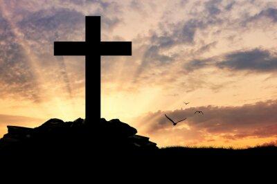 Poster Silhouette eines Kreuzes