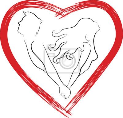 Silhouette eines Paares förmige Herzen
