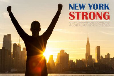 Poster Silhouette of a successful woman or girl arms raised celebrating at sunrise or sunset in front of the New York City Skyline with New York Strong Coronavirus COVID-19 Global Pandemic 2020 text