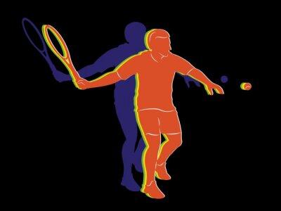 Poster Silhouette Tennisspieler, Vektor-Zeichen