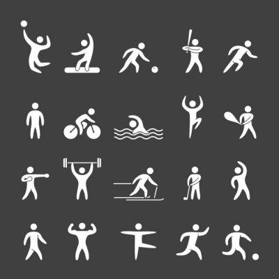 Poster Silhouette Zahlen von Athleten Breitensport