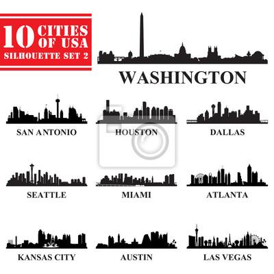 Silhouetten Städte der USA Set 2