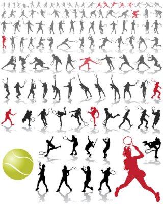 Poster Silhouetten und Schatten von Tennisspielern, Vektor-Illustration
