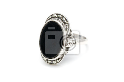 Silver seal ring with a black onyx stone