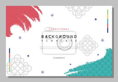 Poster Simple Korean traditional pattern template