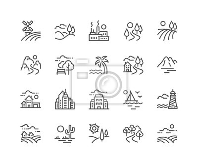 Poster Simple Set of Landscape Related Vector Line Icons. Contains such Icons as Farm, Megapolis, Desert and more. Editable Stroke. 48x48 Pixel Perfect.