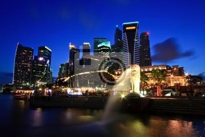 Singapur Skyline Geschäftsviertel am Merlion Park