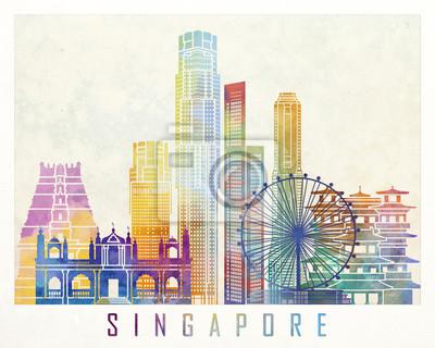 Singapur Wahrzeichen Aquarell Poster