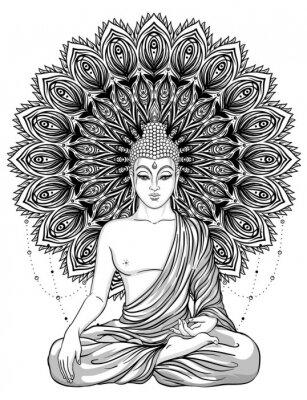 Poster Sitzender Buddha über verzierter rosafarbener Blume. Esoterische Vintage Vektor-Illustration. Indisch, Buddhismus, spirituelle Kunst. Hippie Tattoo, Spiritualität, Thai Gott, Yoga Zen