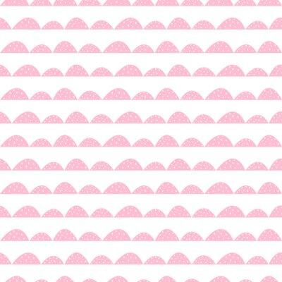 Poster Skandinavischen nahtlose rosa Muster in Hand gezeichneten Stil. Stilisierte Hügelreihen. Wave einfache Muster für Stoff-, Textil-und Baby-Leinen.
