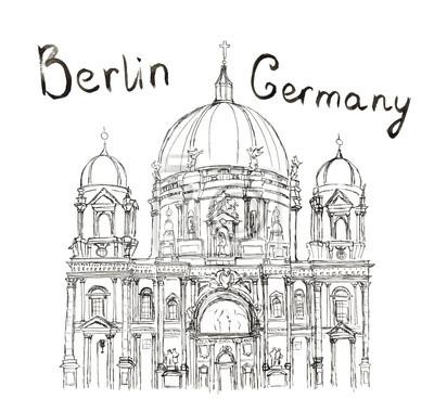 Sketch Berliner Dom Deutschland Berlin Schriftzug isoliert