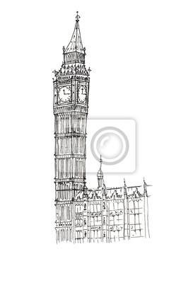 Sketch Big Ben Vereinigtes Königreich London isoliert