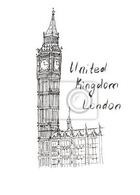 Sketch Big Ben Vereinigtes Königreich London Schriftzug isoliert