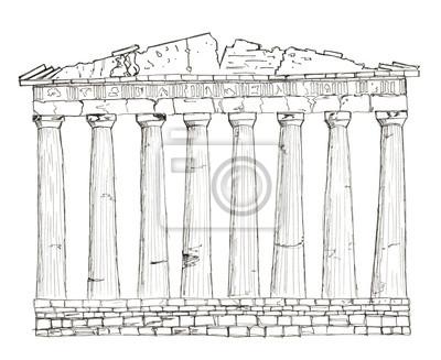 Sketch Griechenland Athen Parthenon isoliert