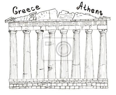 Sketch Griechenland Athen Parthenon Schriftzug isoliert