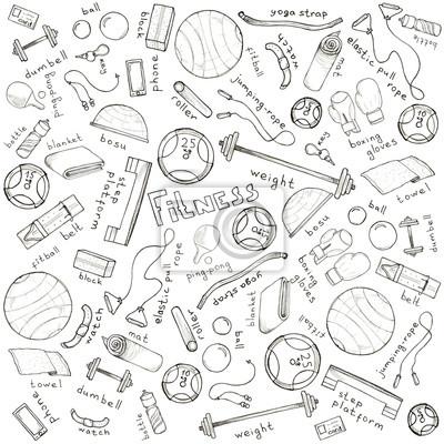 Sketch Hand gezeichnet Hintergrund mit Zubehör für Fitness