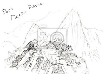Sketch Hand gezeichnet Machu Picchu, Peru, Reisekunst isoliert auf weißem Hintergrund