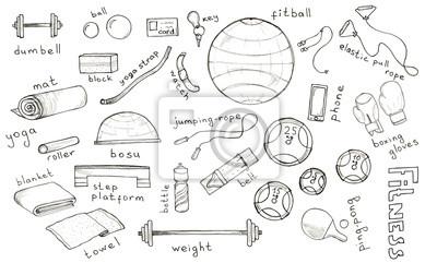 Sketch Hand gezeichnet Satz von Zubehör für Fitness, Sport mit Schriftzug