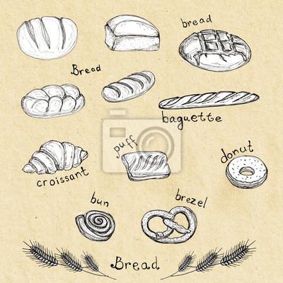 Sketch Hand gezeichneten Satz von Bäckereiprodukten - Brot, Baguette, Croissant, Hauch, Donut, Brötchen, Brezel (Brezeln). Design-Element für Textilien, Werbung, Broschüren, Menü