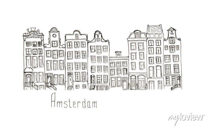 Poster Sketch Niederlande Amsterdam Häuser isoliert Schriftzug