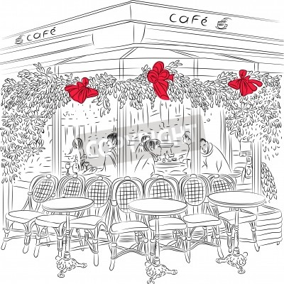 Poster sketch of the Parisian cafe with Christmas decorations
