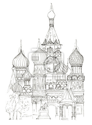Sketch Roter Platz in Moskau Basilius Kirche isoliert